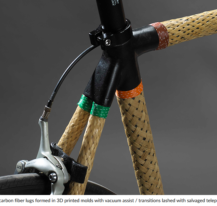 Screenshot lance rake's HERObike fitted with woven bamboo tubes