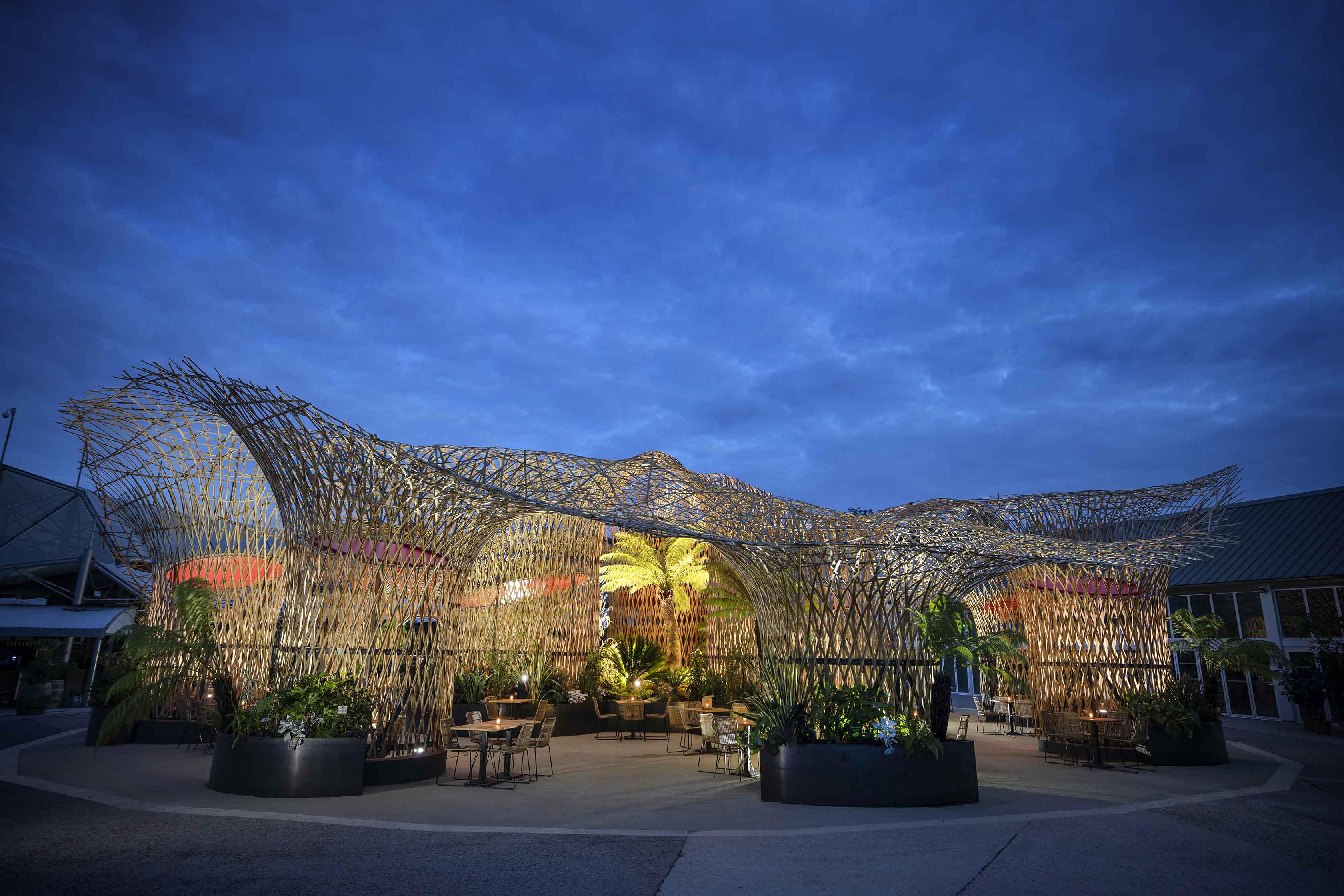 Bambusarchitektur aus Bambusmaterial Deambulons - l'Oasis - Kalice Studio - Arnaud Childeric4