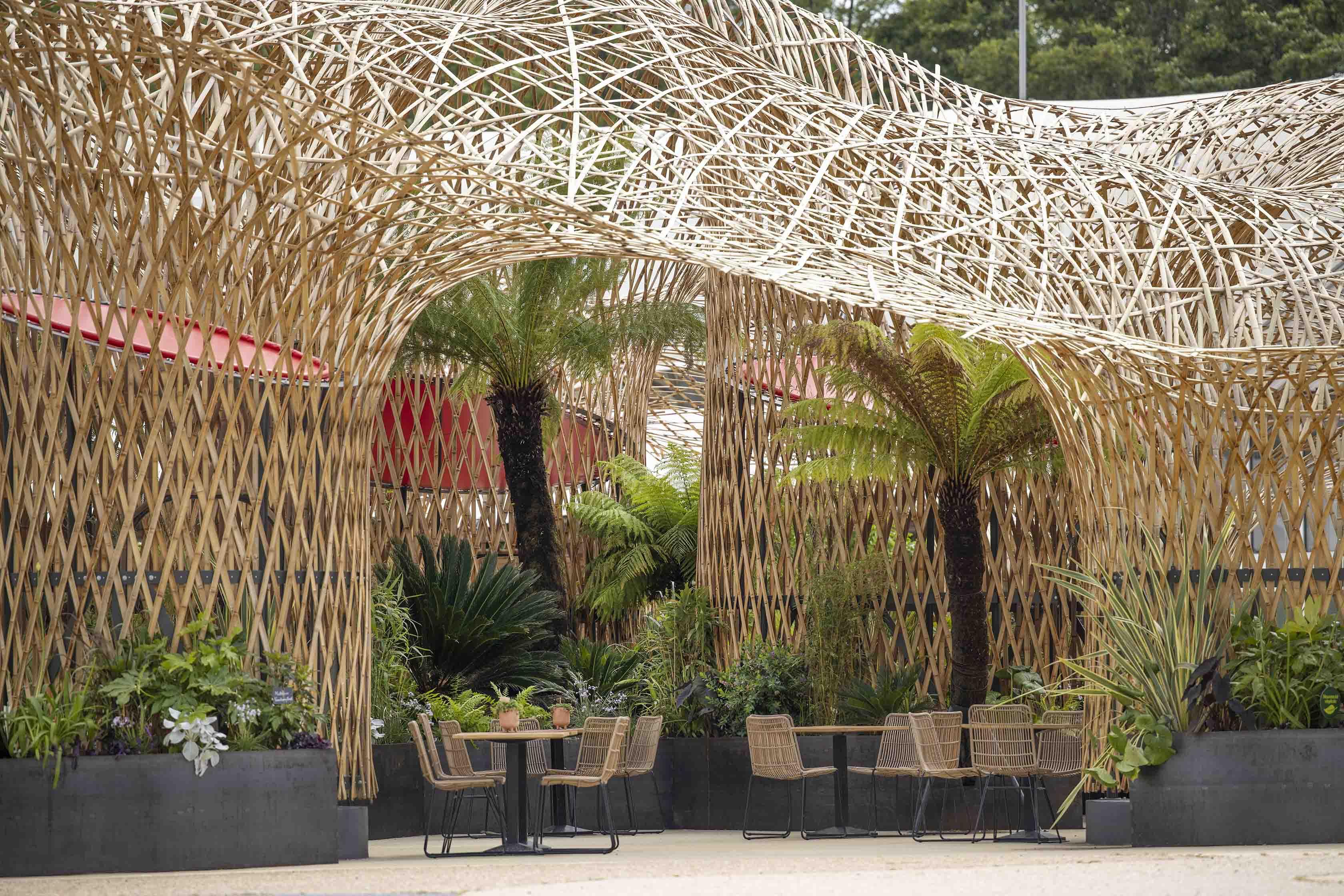 Bambuskonstruktion aus Bambusleisten Deambulons - l'Oasis - Kalice Studio - Arnaud Childeric7