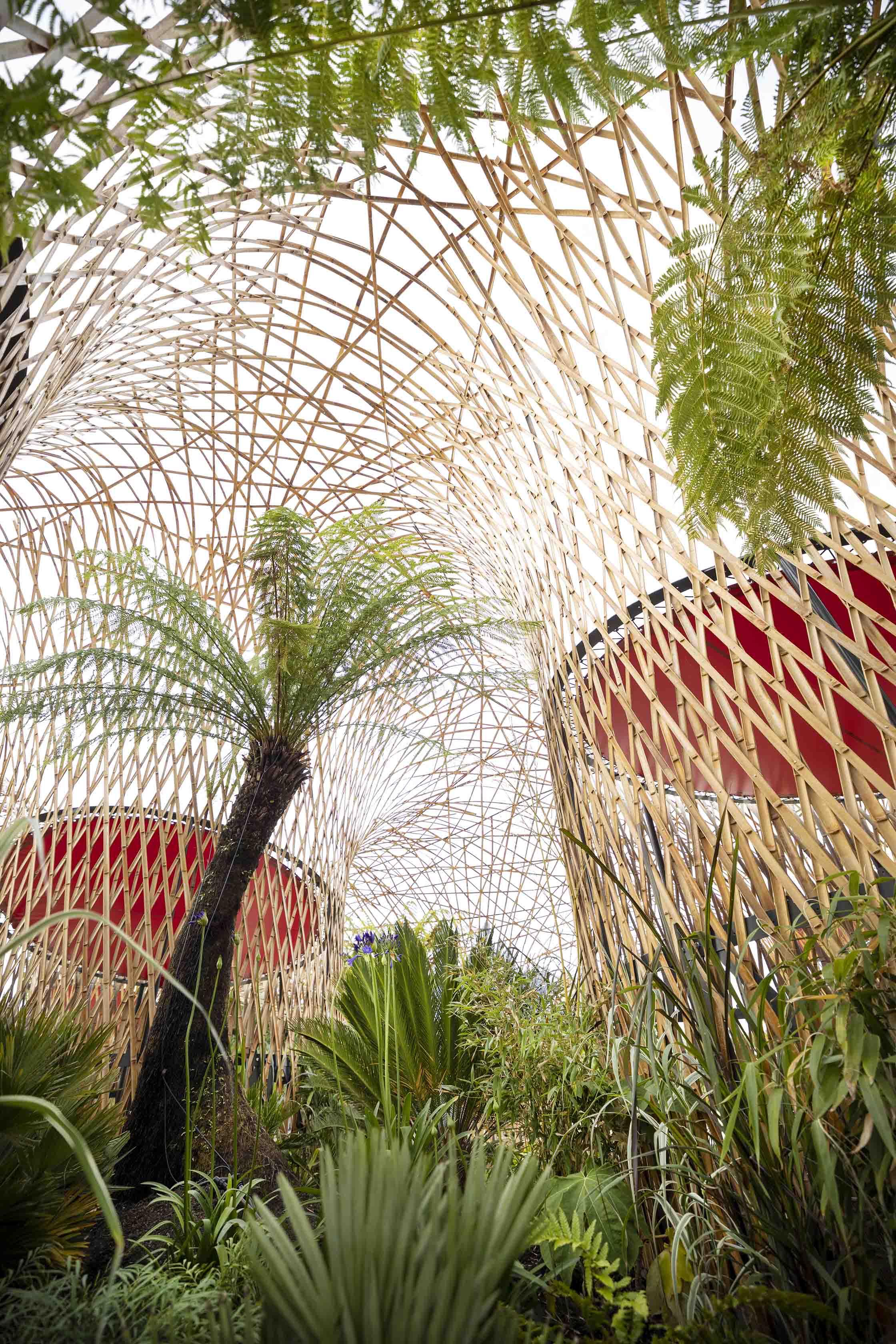 Bambusstruktur aus gespaltenem Bambusrohr Deambulons - l'Oasis - Kalice Studio - Arnaud Childeric8
